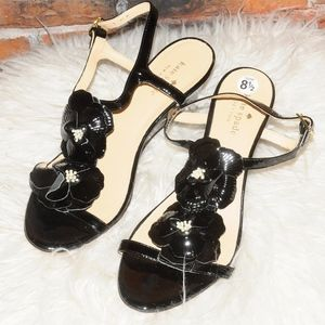 Kate Spade Black Patent Leather Strappy Heels 8.5